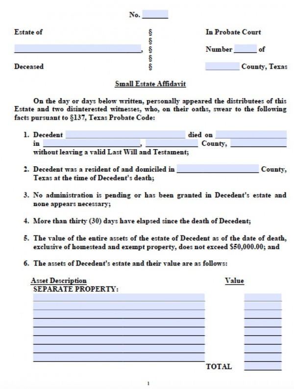 Free Texas Small Estate Affidavit Form - Small Estate Affidavit Form - Affidavit Forms Free