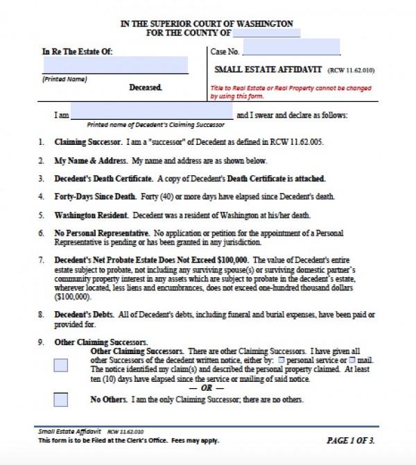 Free Washington Small Estate Affidavit Form - Small Estate Affidavit