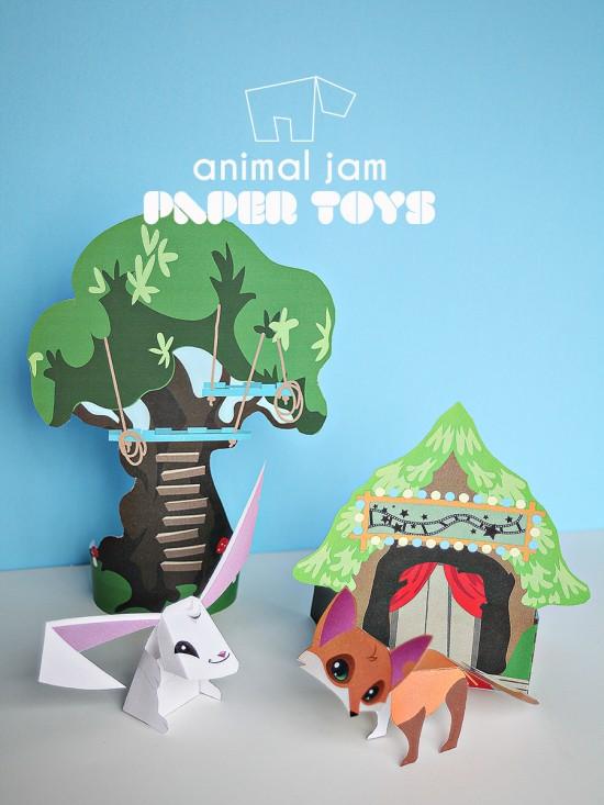 Animal Jam Sarapiea Forest \u2013 Paper Toy Printable DIY \u2013 Rabbit, Fox