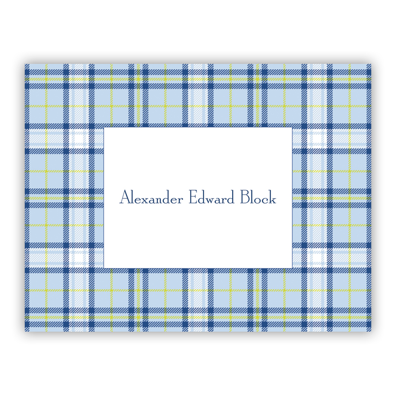 Plaid Blue Stationery, 25 Foldover Notecards by Boatman Geller