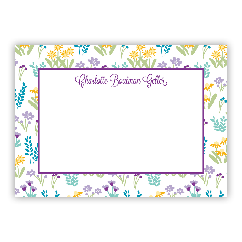 Flower Fields Purple Stationery, 25 Flat Notecards by Boatman Geller