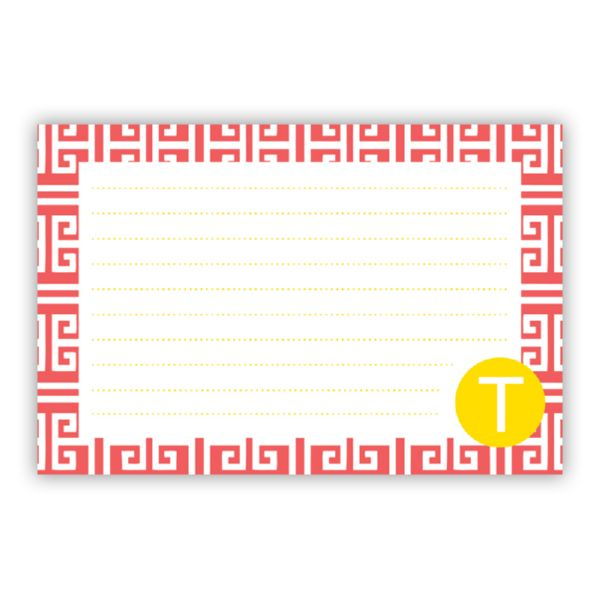 Greek Key Personalized Double-Sided Recipe Cards (Set of 24) by - double recipe cards