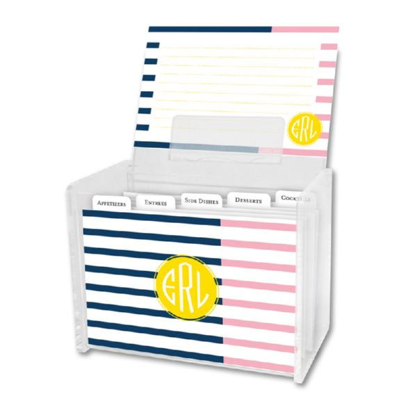Twice As Nice 3 Personalized Recipe Box with 48 Recipe Cards, Tabs