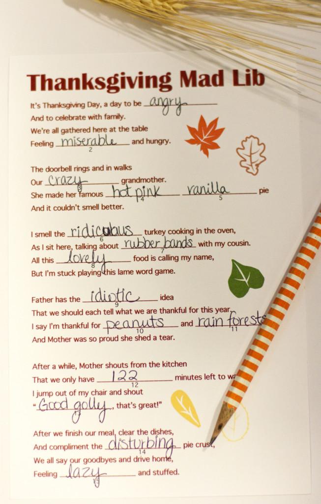 A Free Thanksgiving Mad Lib Printable - Small Stuff Counts