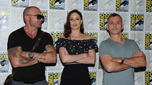 FOX FANFARE AT SAN DIEGO COMIC-CON © 2016: PRISON BREAK cast member Domininc Pucell, Sarah Wayne Callies and Robert Knepper during the PRISON BREAK press room on Sunday, July 24 at the FOX FANFARE AT SAN DIEGO COMIC-CON © 2016. CR: Scott Kirkland/FOX © 2016 FOX BROADCASTING