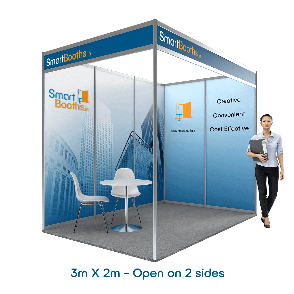 Teppiche 2m X 3m Smartbooths 3m X 2m Booth Two Sides Open 5 Panels
