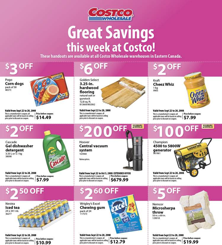 Costco Canada Flyer / Coupons Sep 22 \u2013 28, 2008 Canadian Freebies