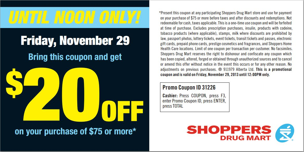 Shoppers Drug Mart Black Friday Flyer \/ Coupon 2013 Canada - coupon flyer