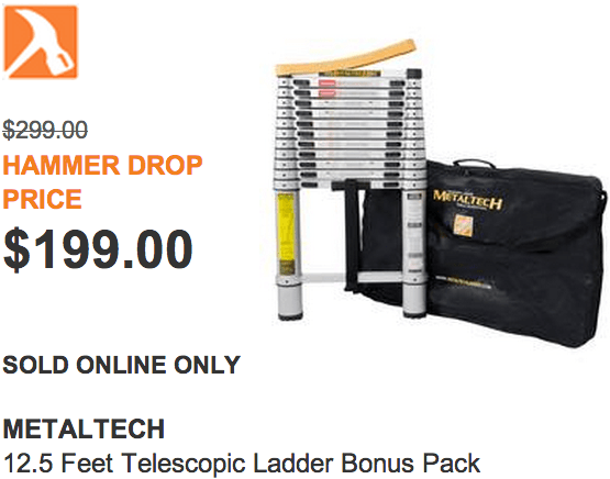 The Home Depot Canada Hammer Drop Deal Of The Day Metaltech 125 Feet Telescopic Ladder Bonus