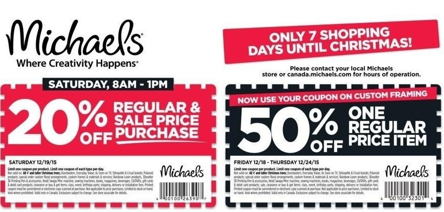 Michaels Canada Weekly Coupons \ Christmas Deals Save 50 Off One - coupon flyer