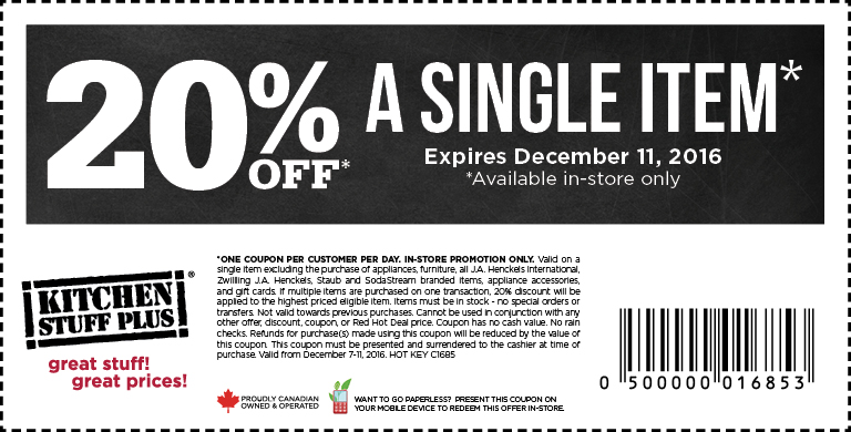 Kitchen Stuff Plus Canada Holiday Coupon Save 20 Off a Single - coupon flyer