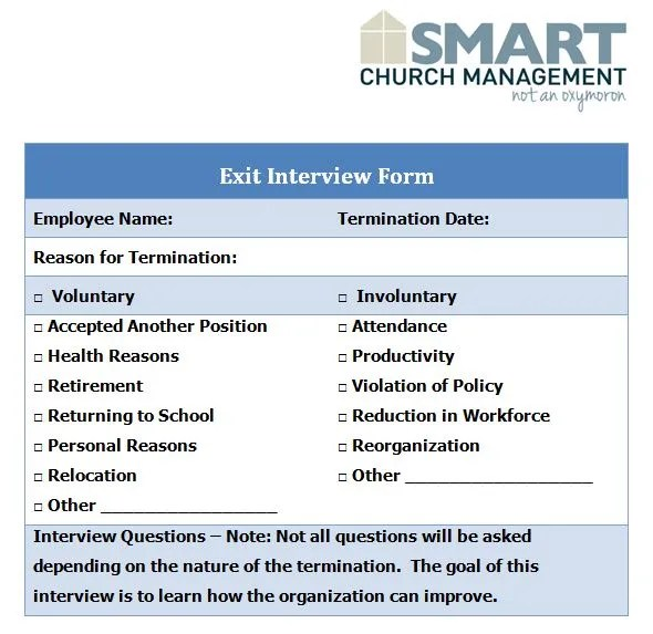 exit interview form - Intoanysearch