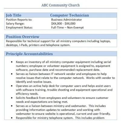 computer technician job description sample - Template