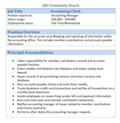 Accounting Clerk Resume Free Sample Accounting Resume And Tips 45 Free Downloadable Sample Church Job Descriptions