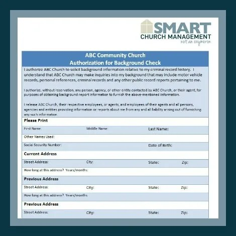 Church Volunteer Forms - background check form