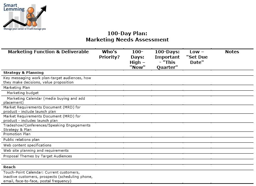 How to Write a Needs Assessment and 100-Day Plan Free Templates