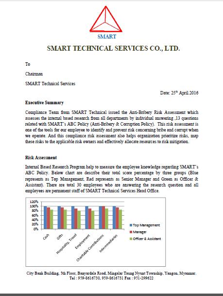 SMART release Internal Anti-Bribery Risk Assessment Report SMART - risk assessment report