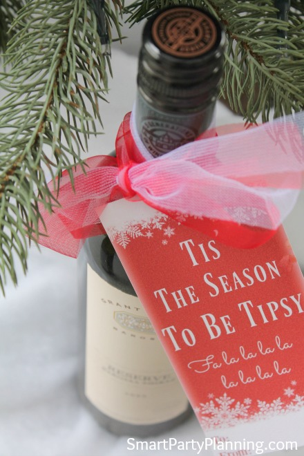 Tipsy wine bottle tags