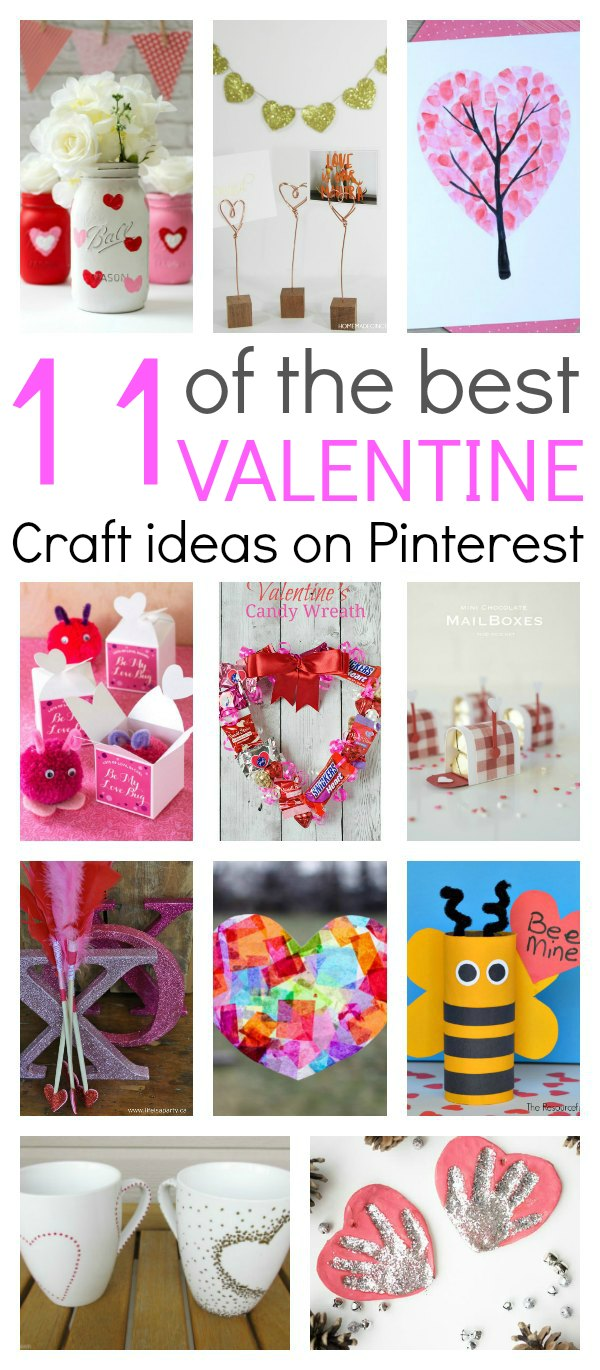 "11 of the best Valentine craft ideas you will find on Pinterest. Simple, easy and fun crafts that everyone can make. Kids can have fun with mason jars, tissue paper, printable's….you name it…it's there. These crafts are the easiest way to say ""I Love You""."
