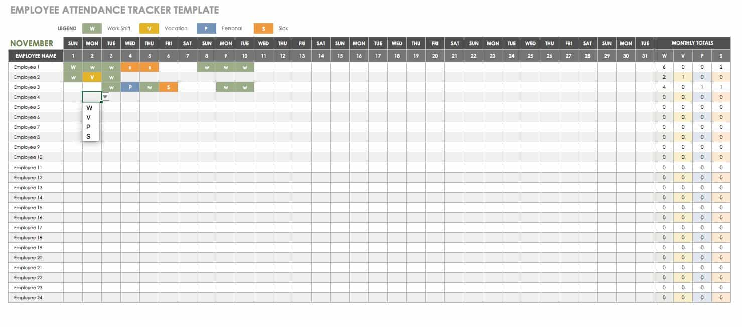 Employee Attendance Free Human Resources Templates In Excel