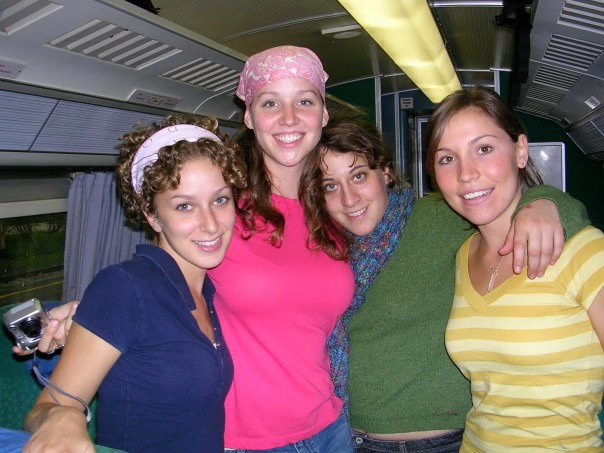 Me with my chopped hair and all three roommates on our way to the chocolate festival in Perugia.