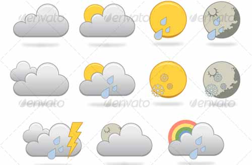 best premium cloud icons set 12 38 Best Premium Cloud and Forecast Icons Set