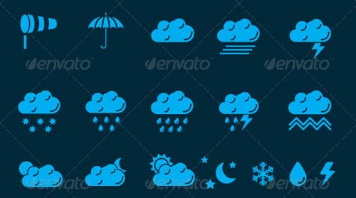 best premium cloud icons set 24 38 Best Premium Cloud and Forecast Icons Set