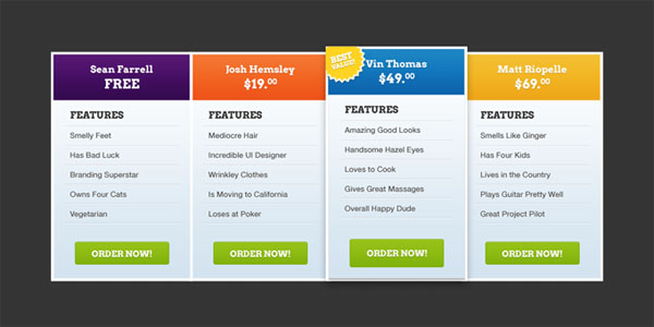37 Free Pricing Table PSD Templates - Smashfreakz - price chart templates