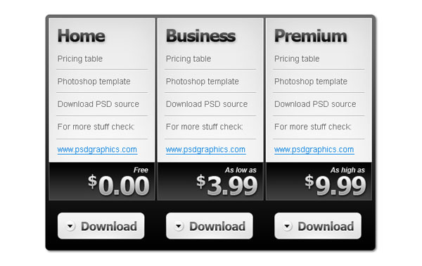 pricing table psd templates 12 37 Free Pricing Table PSD Templates
