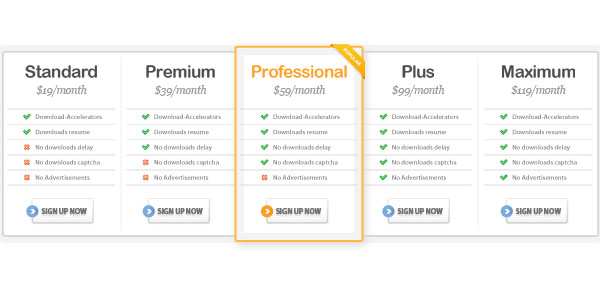 pricing table psd templates 25 37 Free Pricing Table PSD Templates