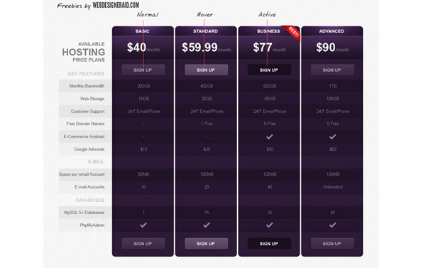pricing table psd templates 27 37 Free Pricing Table PSD Templates