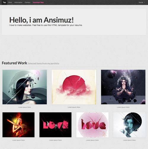 free responsive html website templates resume 12 Free Responsive HTML Website Templates