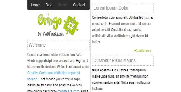 mobile website templates 04 50 Best Mobile Website Templates