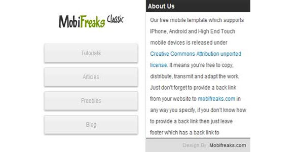 mobile website templates 05 50 Best Mobile Website Templates