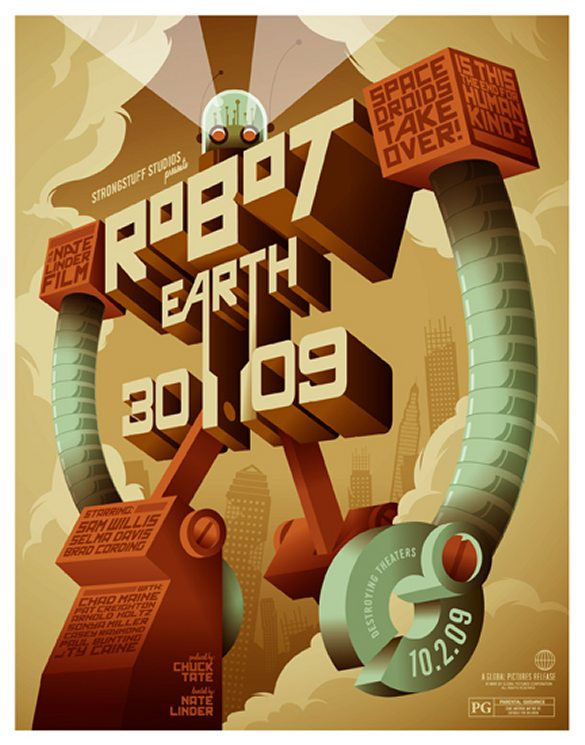 Robot Earth 3009 25 Creative Typography Poster Design