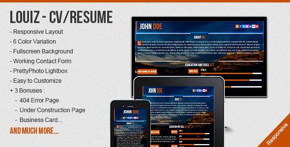 free responsive html resume template