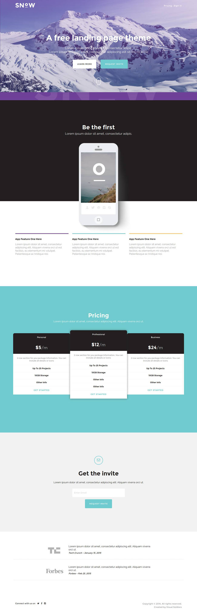 snow free bootstrap mobile app landing page template. Black Bedroom Furniture Sets. Home Design Ideas