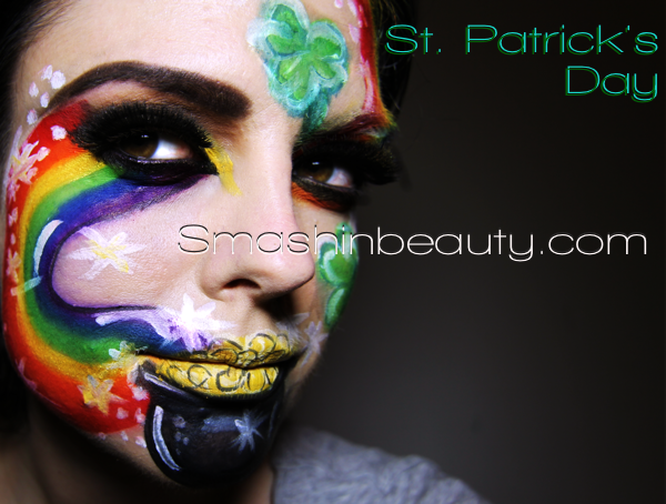 St Patrick's Day Face Paint Eye Makeup Tutorial Rainbow pot of gold lips shamrock