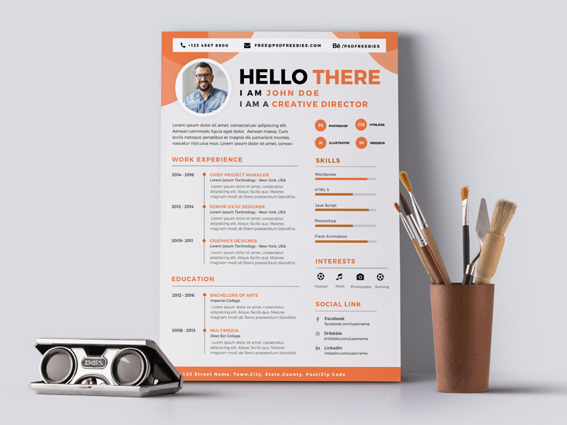 Designer CV - Free Designer Resume Template with Attractive Design