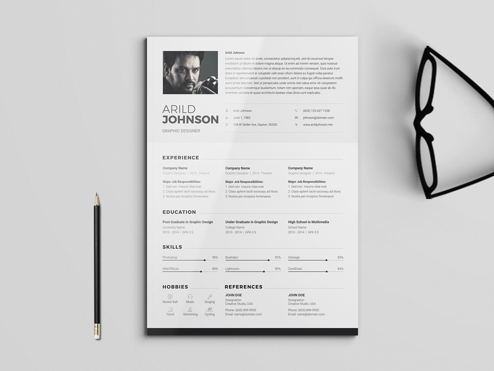 Arild Resume - Free clean and modern CV/Resume Template for Any Job