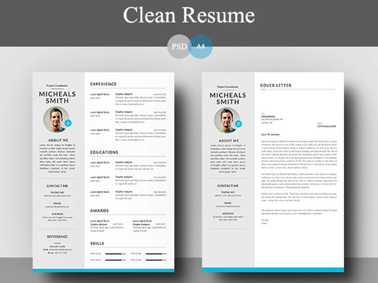 Free Clean Resume and Cover Letter Template for Job Seeker