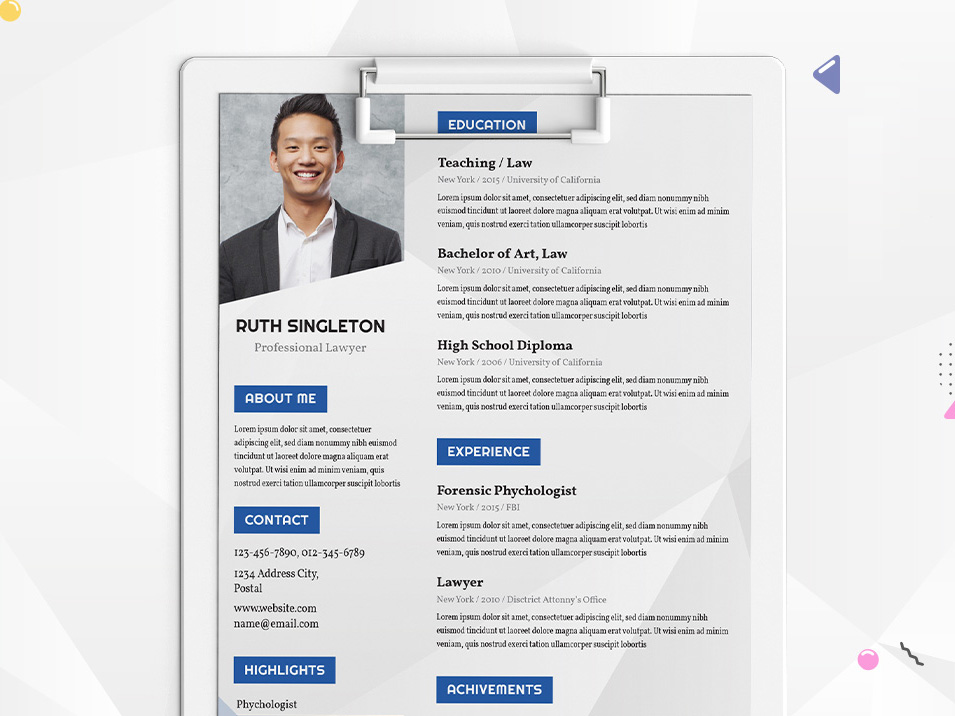 Free Lawyer Resume Template with Clean Design - resume template website