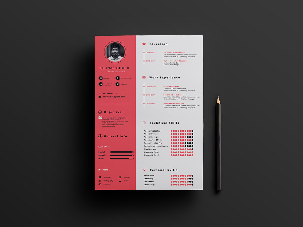 Free A4 Modern Resume Template with Cleand Design - modern resume