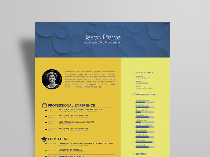 Free Art Director Resume Template with Stylish Design - creative director resumes