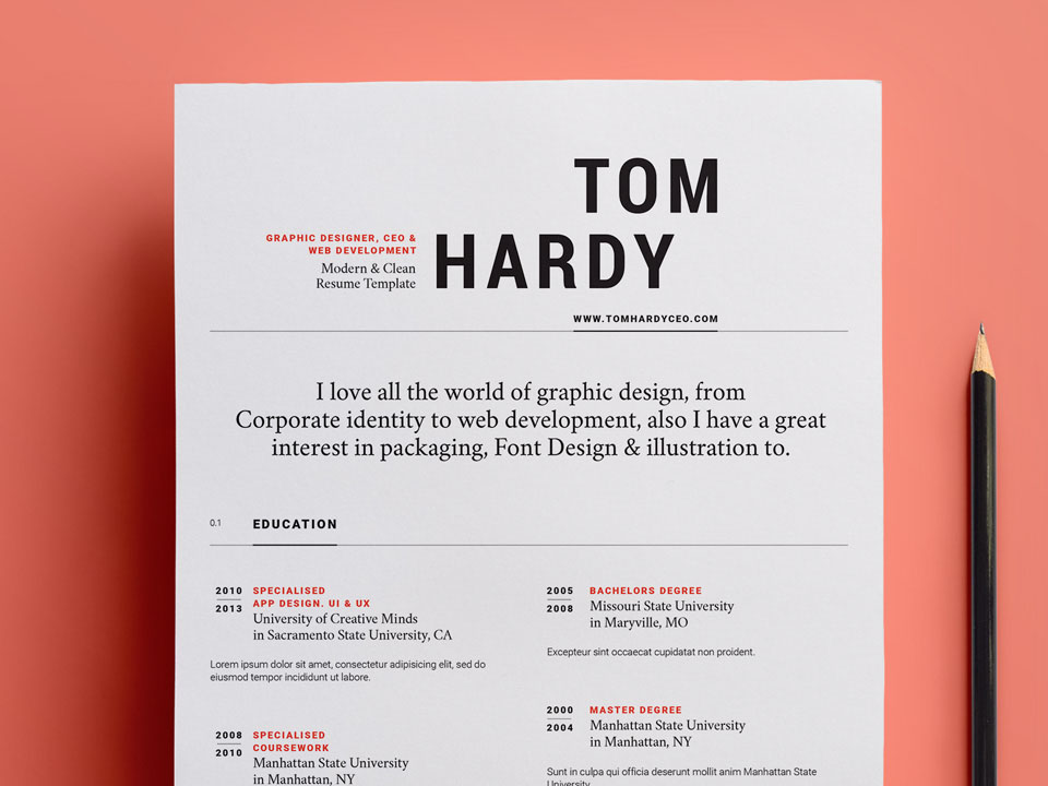 Clean Colorful Resume - Free Colorful and Striking Resume Template