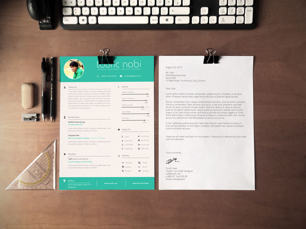 Free Designer Resume/CV Template in PSD Format - graphic design resume template