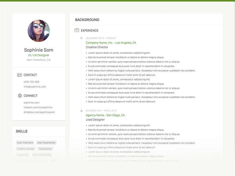 Sophinie Resume - Free Clean Sketch CV Template with Minimalist Design