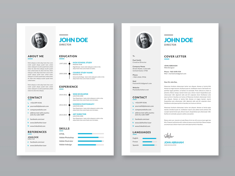 Free Simple Resume Template with Portfolio and Cover Letter - portfolio resume