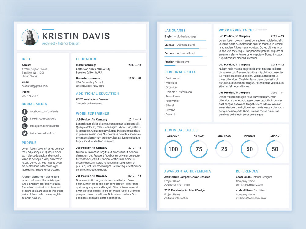 Free Architect Resume Template with Cover Letter - architect resume template