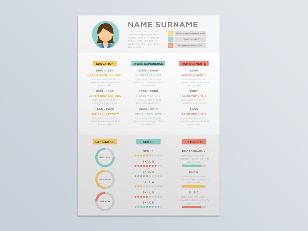 Free Vector Resume Template with Attractive Infographic Style - attractive resume template